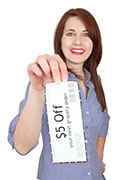 Smiling Woman Holding Coupon