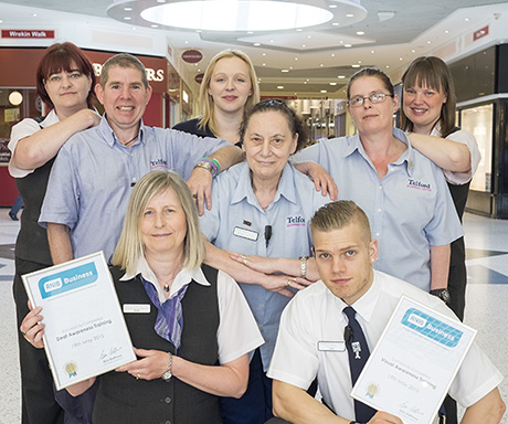 Telford Shopping Centre staff who have attended deafness and visual awareness training.